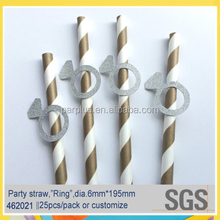 Silver glitter ring embellished paper straw for Engagement Party