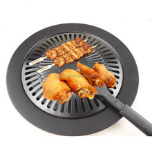Refined Iron Black Barbecue BBQ Frying Roasting Pans Gas Grill Pan