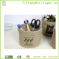 linen Natural round storage jute bin & basket with handle for storage wholesale