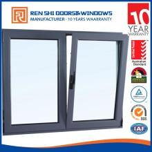 Double glazed windows as/nzs standard aluminum and wooden tilt and turn hinge crank windows