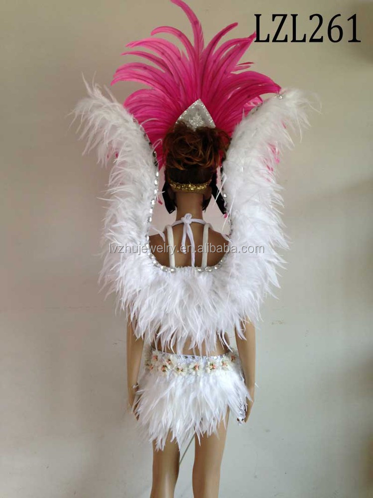 Showgirl/Dance Burlesque Feather samba costume LZL261