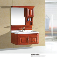New design wall bathroom furniture solid wood with mirror
