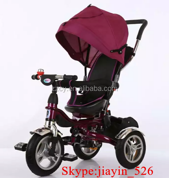 double suespension kids metal tricycle/kids pedal trike/baby tricycle with 360 raoted seat and foldable frame