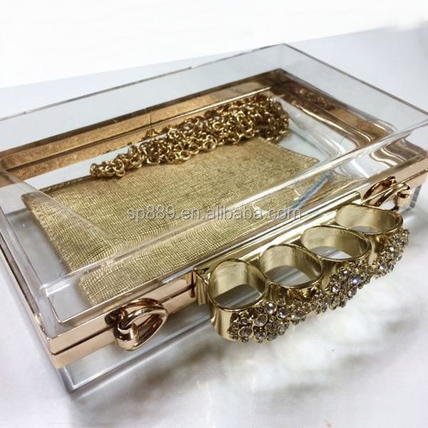 Newest trendy clear lucite knuckle gold ring clutch acrylic antique purse jewelries transparent resin evening bag