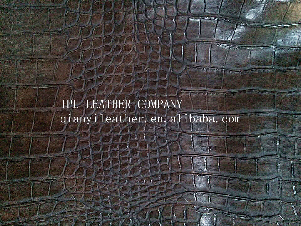 IPU PVC Faux Leather with Crocodile pattern
