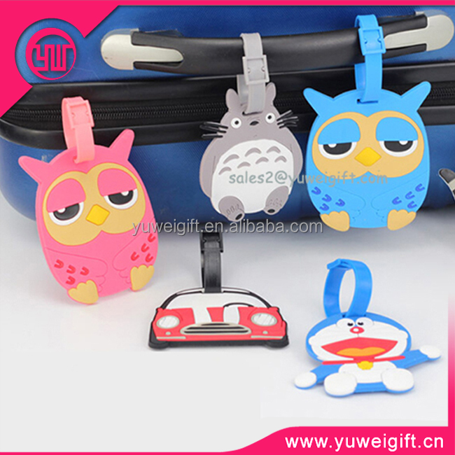 Good quality rubber travel souvenir luggage tag for trolley luggage