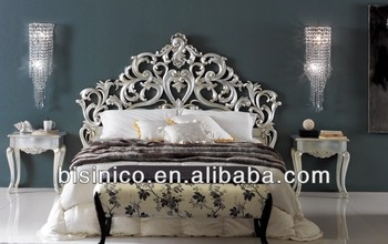 Luxury French royal palace 1.8M wooden hand carved openwork double bed
