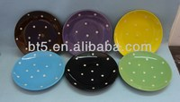 round restaurant ceramic fruit plates dishes with white dots