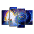 4 Panels Abstract Painting Prints Sailboat and Whelk Wall Poster for Living Room Bedroom Decoration Seascape Canvas Prints