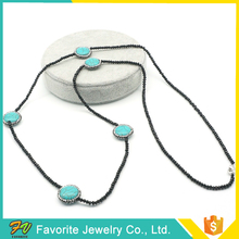 Simple Design Women Fashion Gold Thin Chain Bead Necklaces