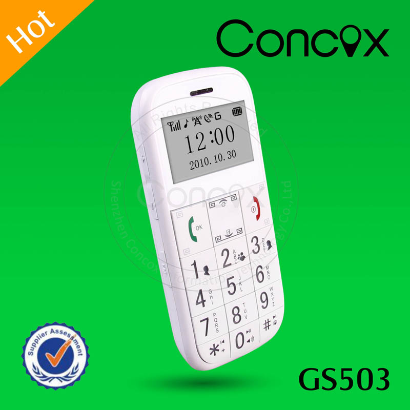 Support GPS+LBS GSM 850/900/1800/1900 MHz Quad-band GPS Senior Phone GS503 Concox