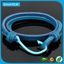 Ally Express Wholesale Blue Fish Hook Leather Cord Bracelet Men