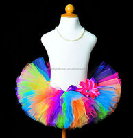 Newest Arrival Hot Sale Latest Skirt Design Pictures Rainbow Fluffy Tulle Tutu Skirts Colorful Wholesale Kids Mini Skirts