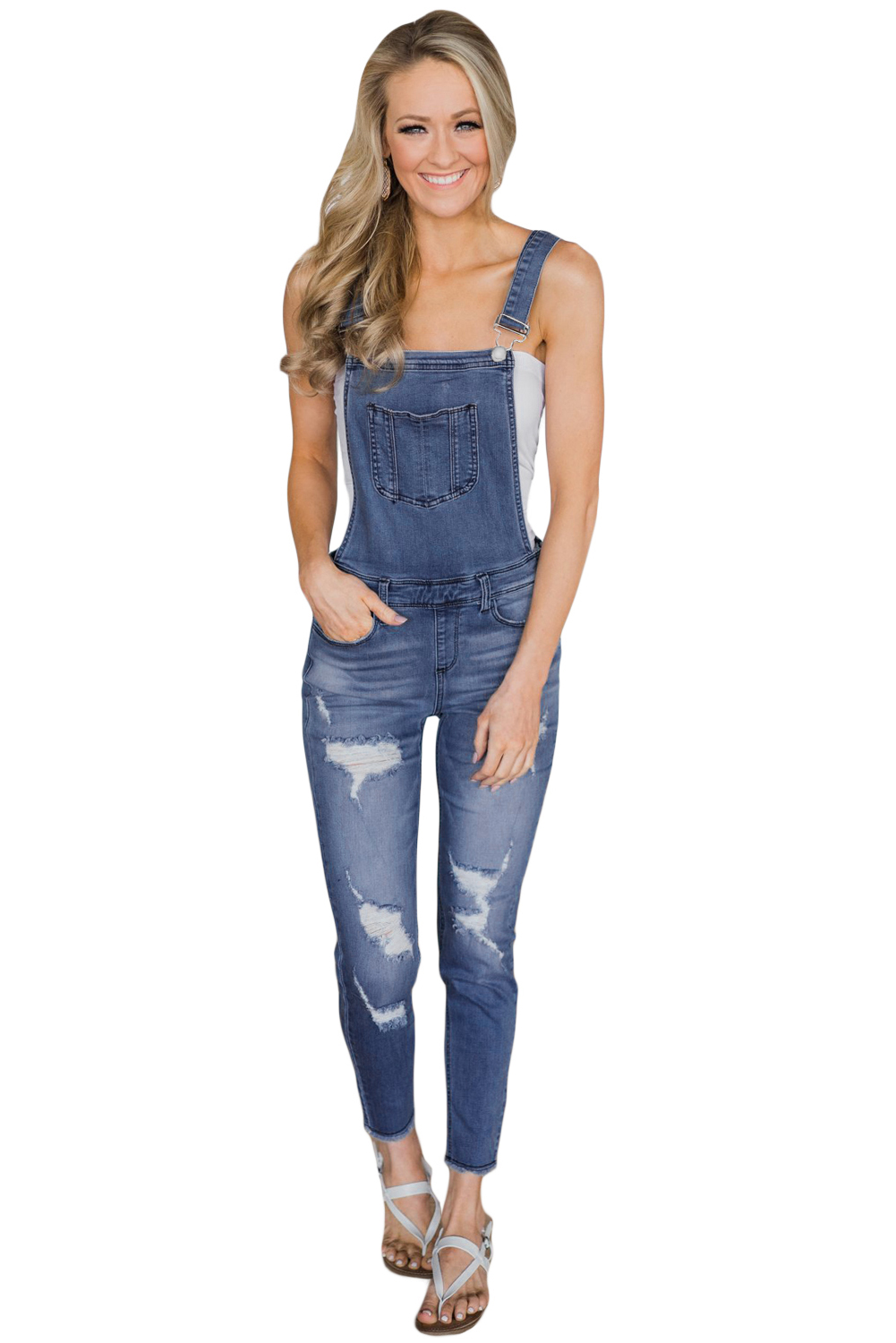 Sexy Wash Distressed Overalls Jeans Pants For Women