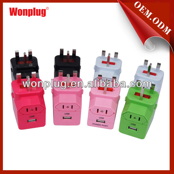 Wonplug patent world travel adapter with usb charger,great electric Christmas gift