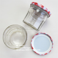200g candy jars glass food container storage jar with metal red tin lid