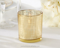 Classic Gold Stripe Tealight Holder Gold Glass Votive Candle Holder For Wedding Party Decoration