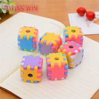 Factory kawaii stationery Wholesale Promotional China new coming novelty cube shaped plastic manual pencil sharpeners