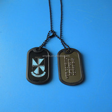 Black Nickel Plated Human Dog Tag, Custom Dog Tag With Two Charm