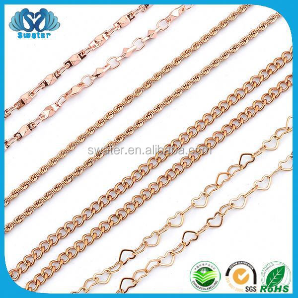 Jewelry Wholesale Jewelry Rose Gold Plated New Model Necklace Chain