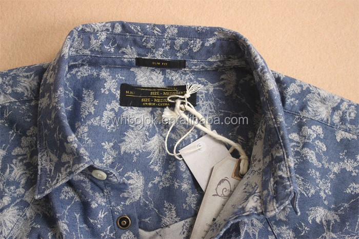 Denim printed fashionable floral shirts for men hawaiian shirt long sleeve shirt