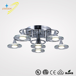 GZ30006-5+1C zhong shan indoor modern white chrome fancy LED ceiling lamp
