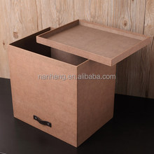 NAHAM Linen Paper Decorative Cardboard Storage Box With Cover
