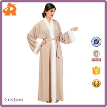 New Models Muslim Latest Women Dubai Open Abaya Kimono With Elegant White Lace