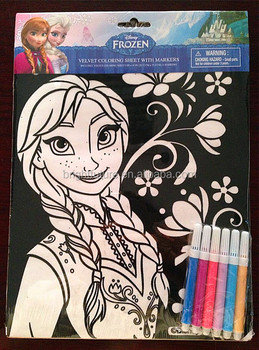 FROZEN : VELVET COLORING SHEET WITH MARKERS