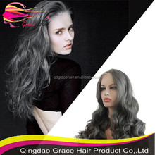 Tangle free long wavy grey color human hair full lace wig
