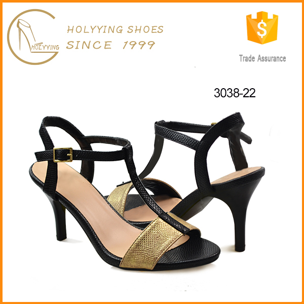 Factory manufacturing shoes animal print T strap ladies high heel chappal