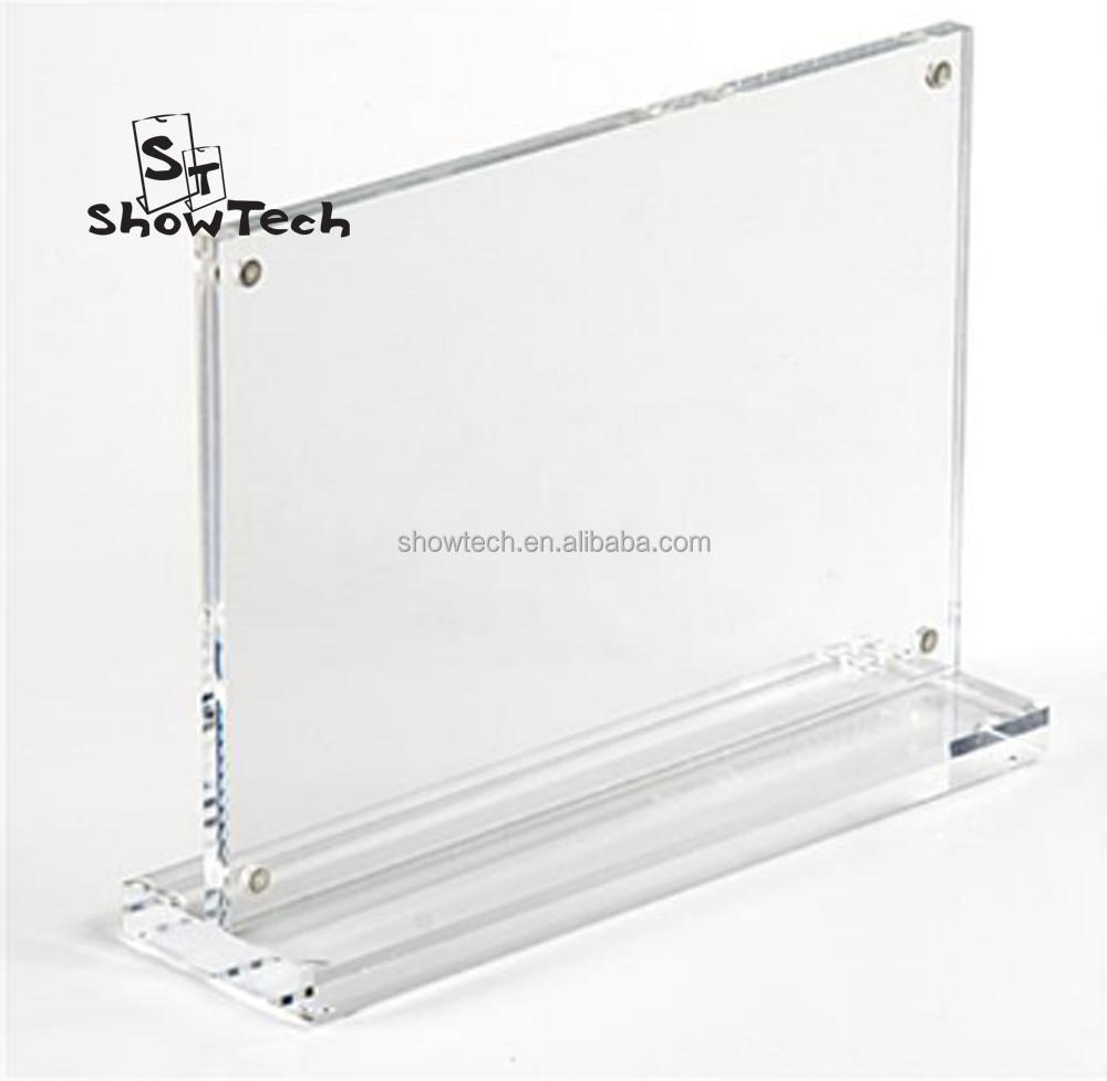4x5, 5x7, 8.5x11 acrylic magnetic table display sign holder