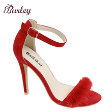 HOT Selling shoes 2017 arrivals feminine high heels ankle strap fluffy women high heel shoes metal buckle women sandals
