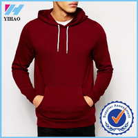 OEM China manufacturer Cotton/polyester wholesale custom men hoodies, blank gym hoody maroon colour mens pullover hoodie wear
