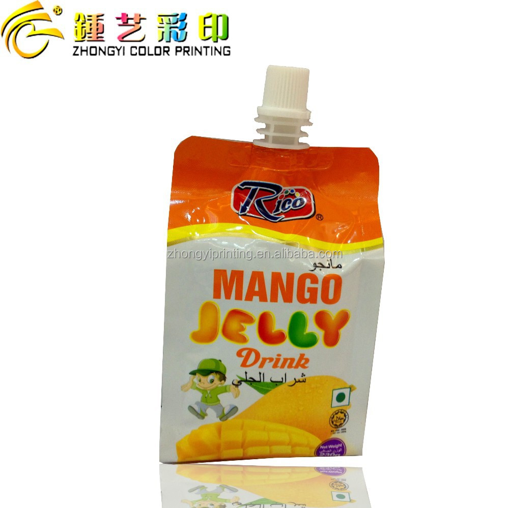 Hot sale Jelly plastic food packaging bag,center spout side-gusset plastic bag packing&printing with QS/OEM/ISO certification