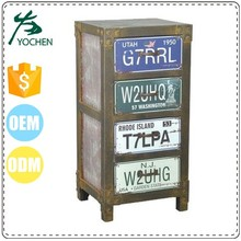 fashion old world colorful print wooden tall cabinet