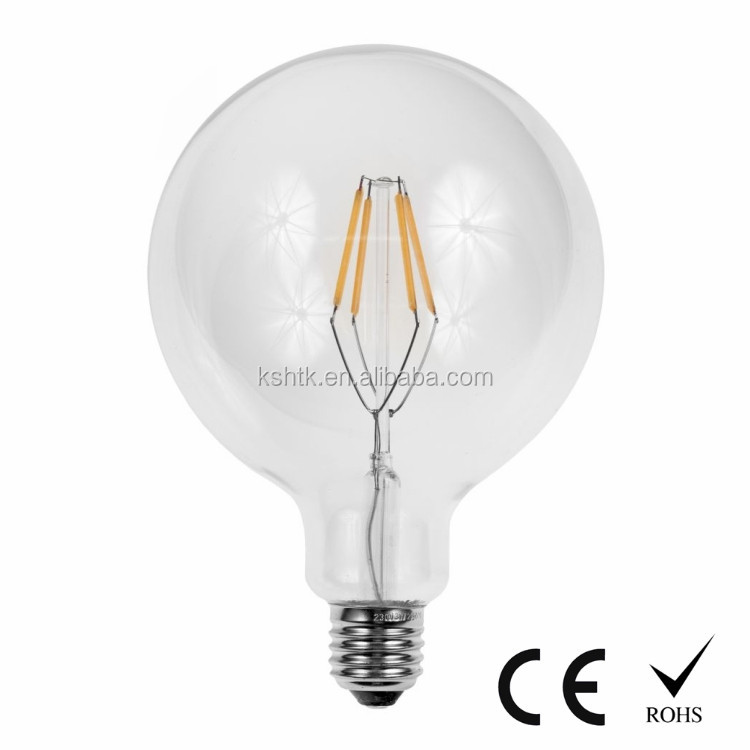 Dimmable 4W G125 Retro style globe LED filament bulb 120V 230V