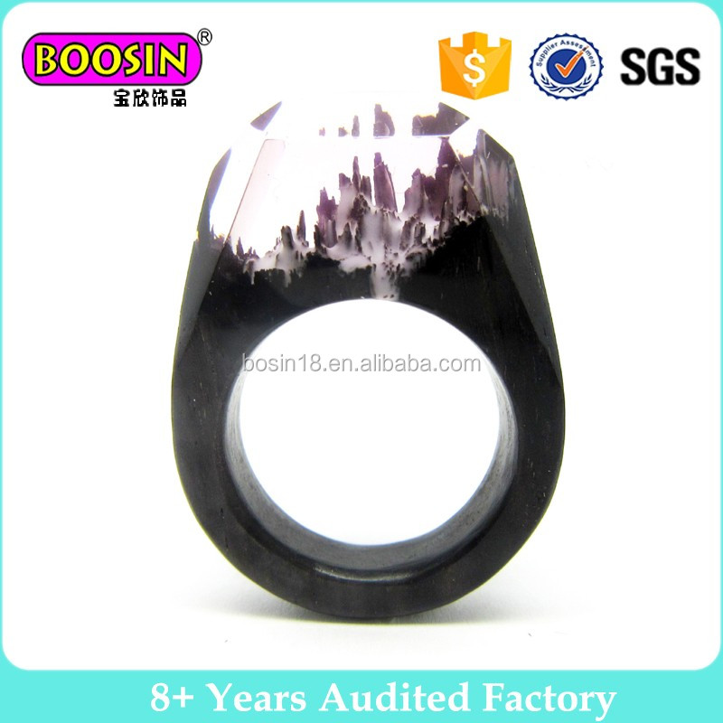 MOQ 1 pc wholesale stainless ring handcarved wood resin ring jewellery for men#R170