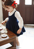 custom navy blue baby clothes kindergarten dresses primary school girls dresses