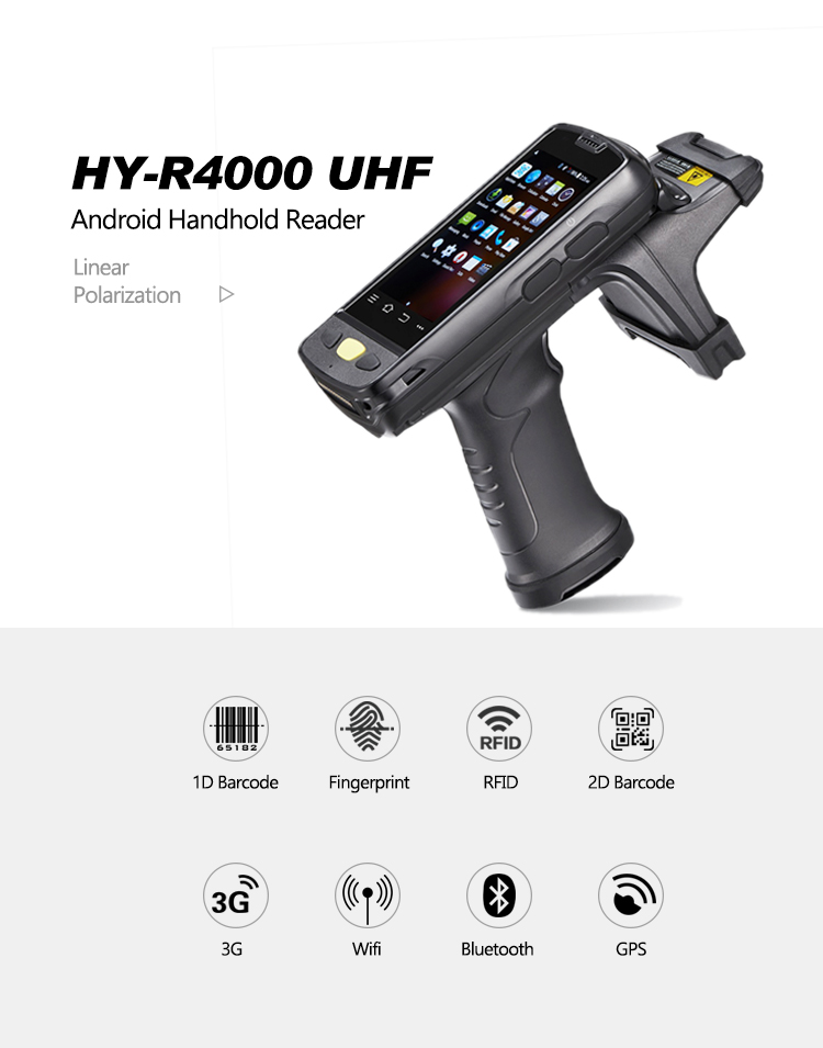HY-R4000 Long Range Distance RFID UHF Android Bluetooth Wifi Handheld RFID Tag Reader