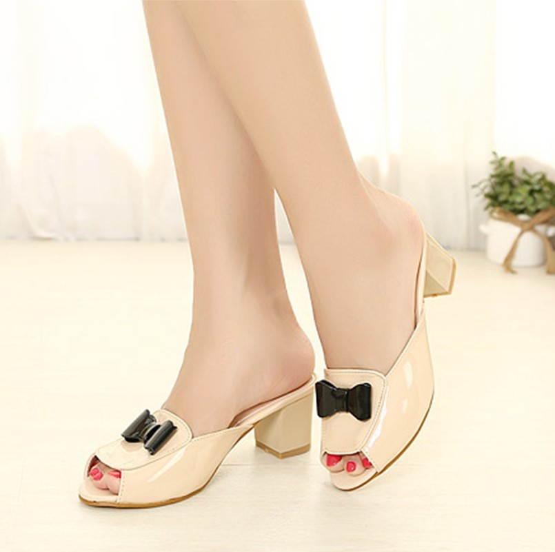 2013 women's japanned leather slippers thick heel bow flower open toe sandals sexy women's shoes