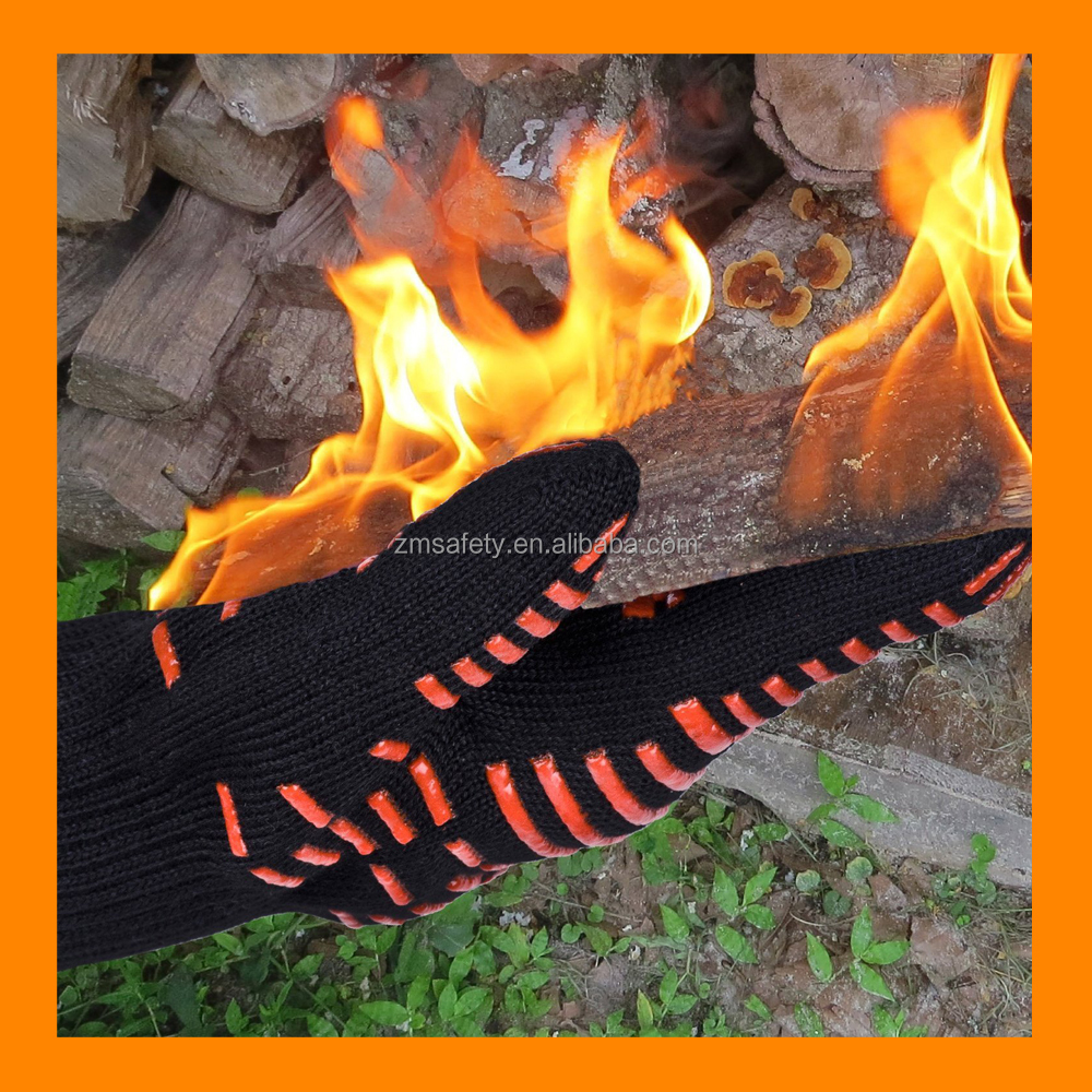 Fire Retardant BBQ Long Cuff Oven Gloves Black Grill Mitt for Sell