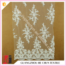 HC-5572-1 Hechun Polyester Transparent Bead London Bridal Lace Fabric for Dress