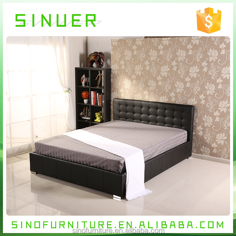 Good quality teak wood double leather king size platform bed designs