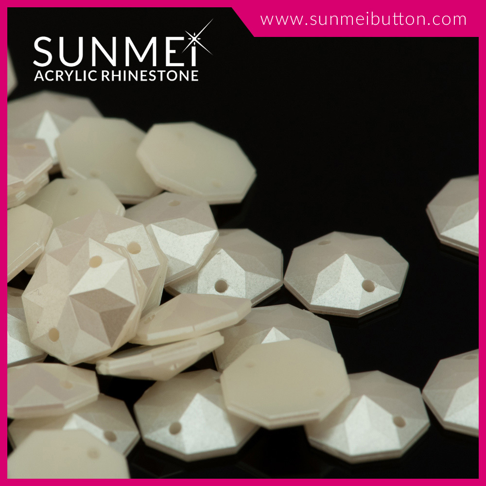Dayable Octagon Shaped Decorative Acrylic Plastic Pearl Rhinestones in Bulk