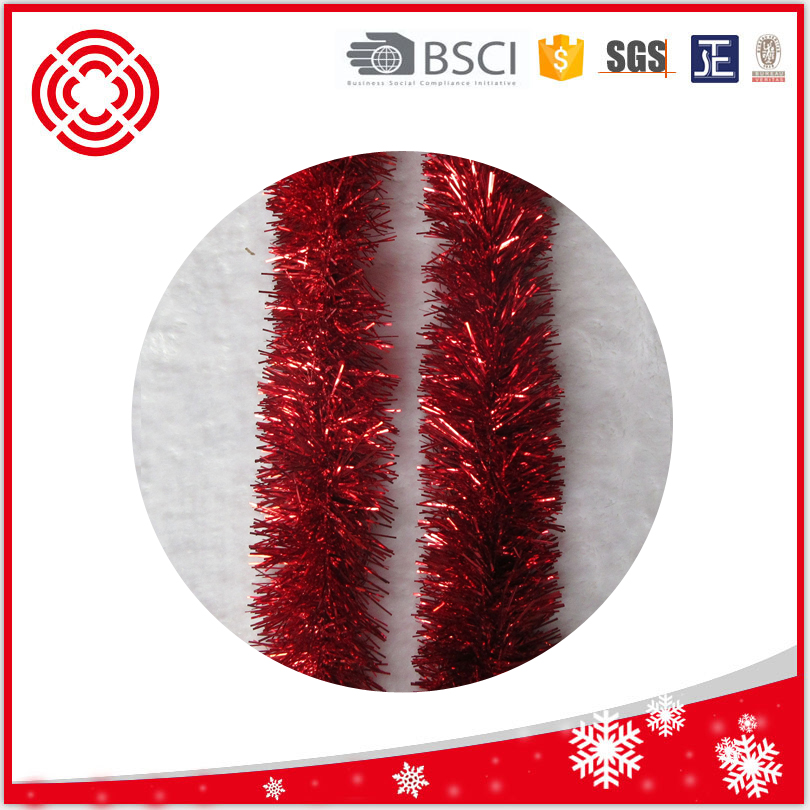 Red High Quality Christmas Tinsel Garland for Tree Decoration