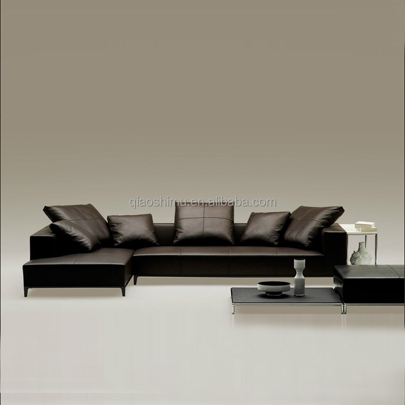 Modern Italian leather Corner Sofa Set Designs with Chaise home furniture