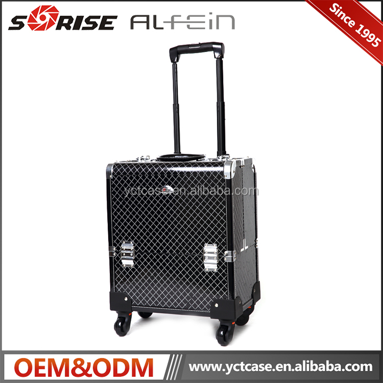 360 degree rolling wheel trolley cosmetic makeup beauty train case factory price