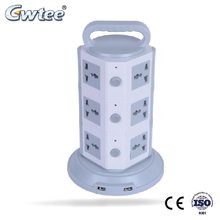 OEM vertical surge protector multiple plug vertical round power tower socket with USB
