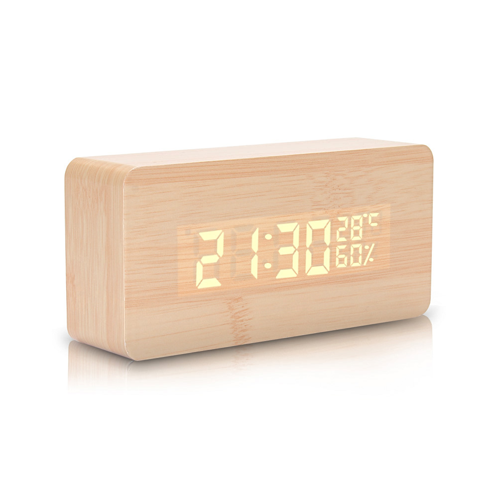 ime Temperature & Humidity Display Creative Morning Alarm Clock Wooden Design Digital Alarm Clock with Led Lights